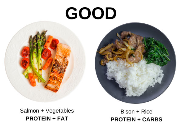 protein +fats protein+carbs